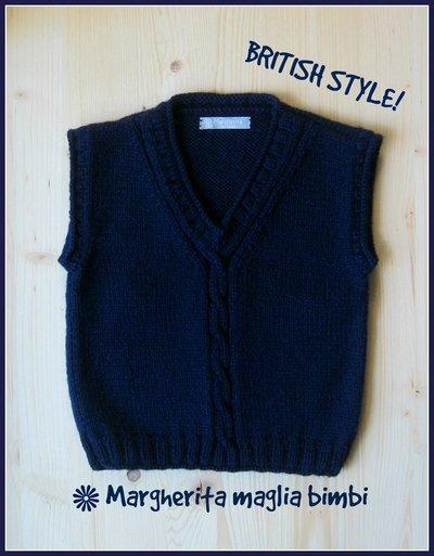 Maglia senza maniche - gilet bambino blu scuro - fatto a mano in pura lana