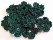 10 Mini Fiori a uncinetto per applicazioni / Set di 10 fiori /Scrapbooking / Fiori verdi bottiglia.