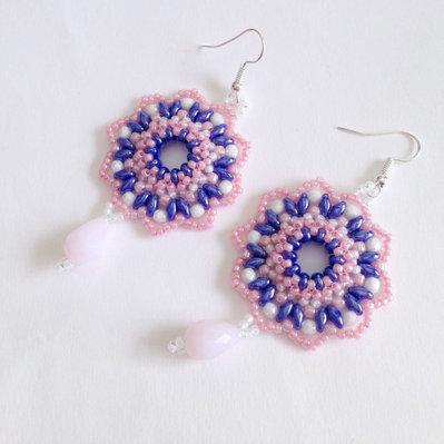 Orecchini Blossom rosa blu bianco