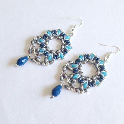 Orecchini Biscuit blu azzurro argento