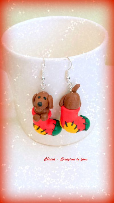 Orecchini in fimo handmade Cani Bassotti nella calza della befana kawaii miniature idee regalo amica