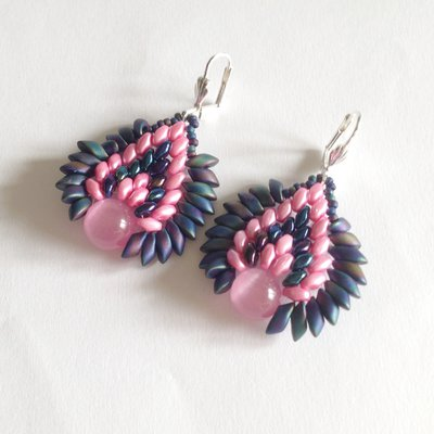 Orecchini Dragon rosa e blu iris