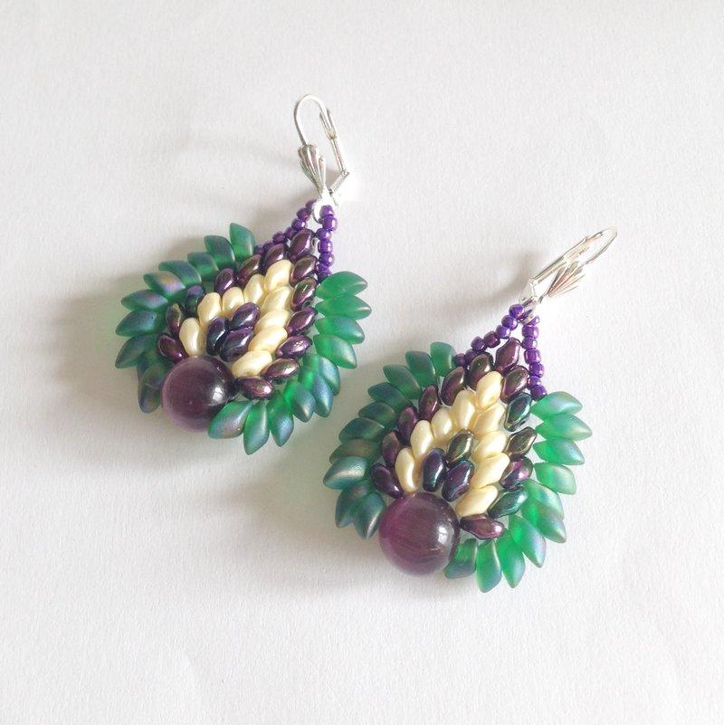 Orecchini Dragon viola e verde iris