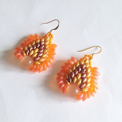 Orecchini Dragon arancioni oro e rame