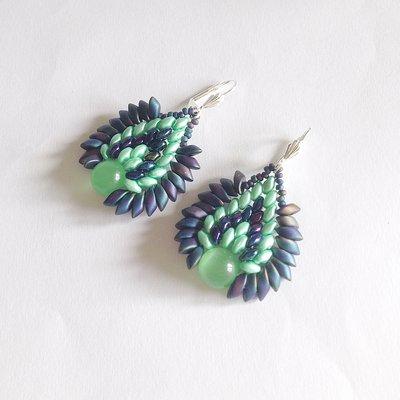 Orecchini Dragon verde e blu iris