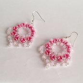 Orecchini Ventaglio rosa e argento con superduo e rocailles