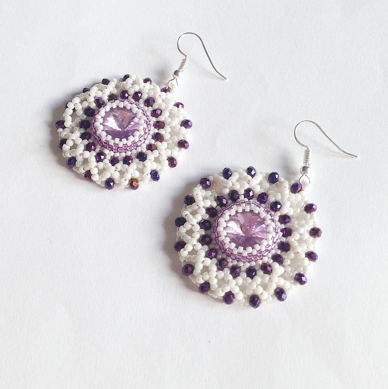 Orecchini Lace bianchi e viola