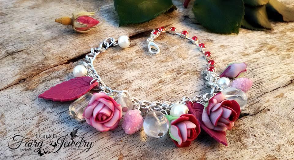 Bracciale rose fiori rosa fucsia alluminio fimo pasta polimerica modellato a mano handmade