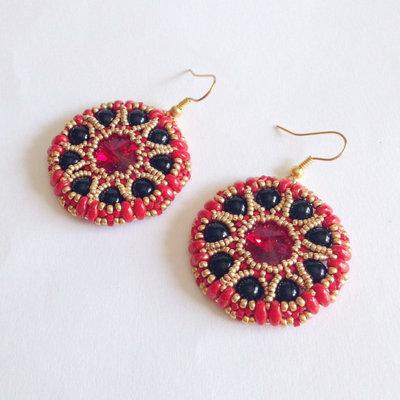 Orecchini Sari rosso oro nero con Swarovski
