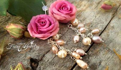 Orecchini rose pasta polimerica fimo pendenti monachelle argento 925 perle fiume