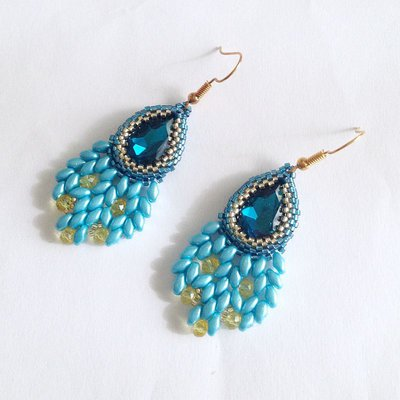 Orecchini Peacock azzurri e gialli