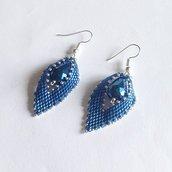 Orecchini Leaves blu e argento