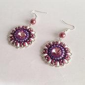 Orecchini Margaret rosa viola bianco argento con perline