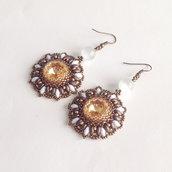 Orecchini Margaret bronzo e dorato con perline giapponesi