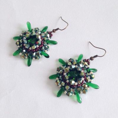 Orecchini Urchin verde e marrone