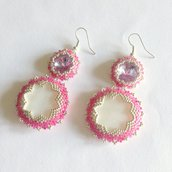 Orecchini Candyflower rosa con Swarovski