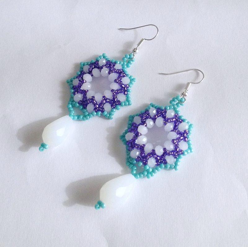Orecchini Snowdrop viola turchese e bianco