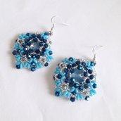 Orecchini Sparkle blu e argento