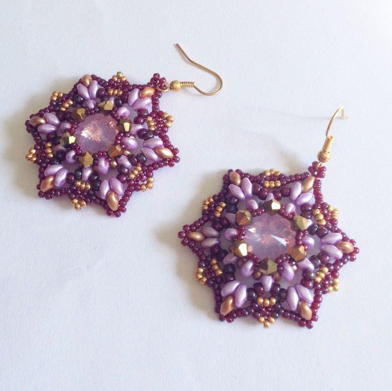 Orecchini Starfish rosa oro e bordeaux