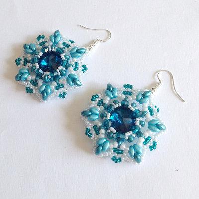 Orecchini Starfish bianco perlato e azzurro verde