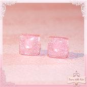 Orecchini quadrati rosa kawaii,stud earrings square pink,bijoux,moda,girl,emo!