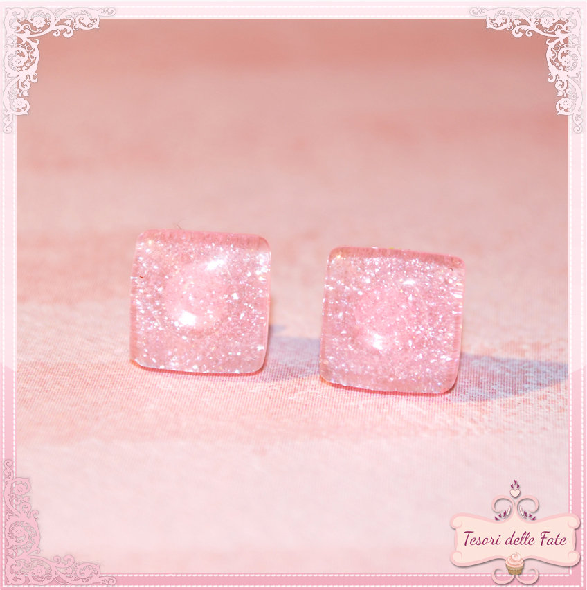 Orecchini quadrati rosa kawaii,stud earrings square pink,bijoux,moda,girl,emo!