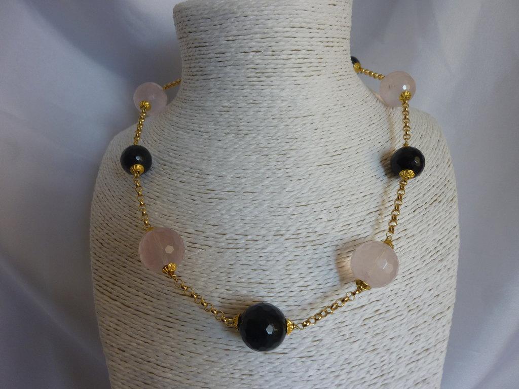 Collier quarzo rosa onice nera e argento gioielli for Diafane trasparenti
