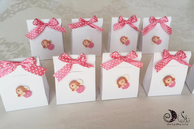 Bomboniere comunione portaconfetti scatolina bianca e angioletto con fiocco rosa a pois