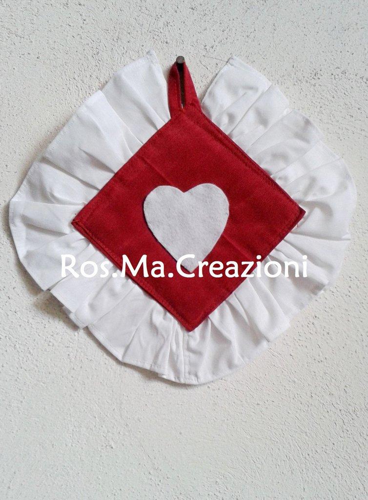 Presina quadrata con voulant e cuore in stoffa fatto a mano