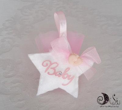 Bomboniera nascita e battesimo stellina portaconfetti imbottita bianca scritta baby rosa con piedini