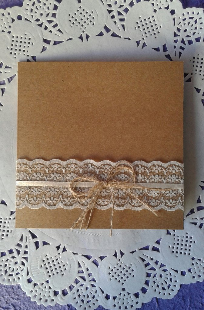 Extrêmement Partecipazione matrimonio shabby country chic in carta kraft e  TK73