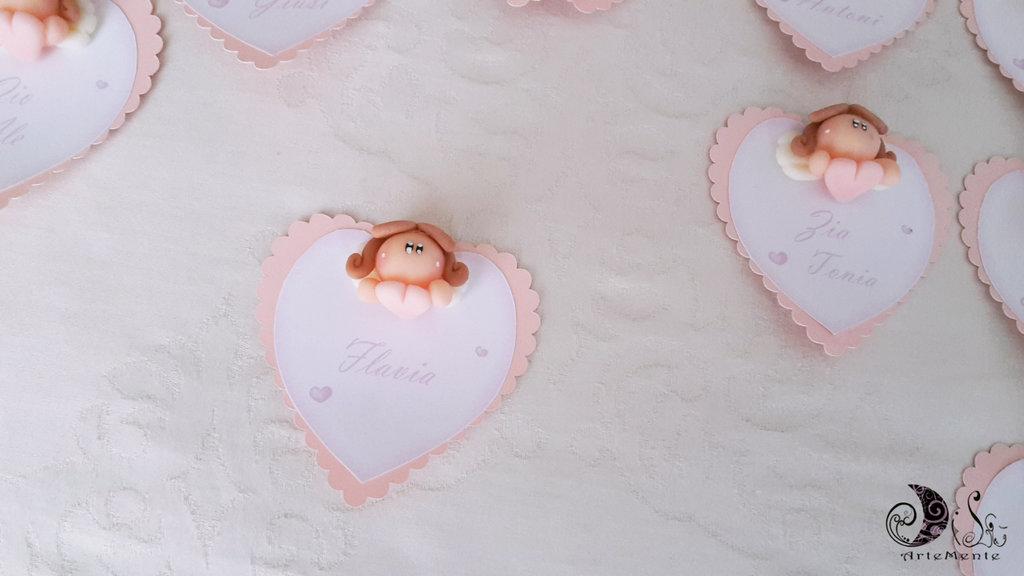 Card Art cuore rosa smerlato segnaposto Battesimo con angioletto con cuore