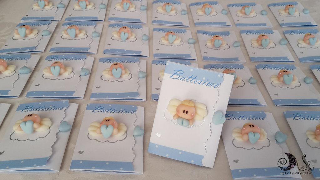 Card Art Invito battesimo angioletto per bimbo misura 7x15
