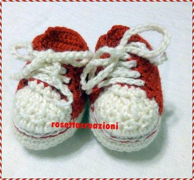 scarpette ginnastica neonato fatte a mano uncinetto