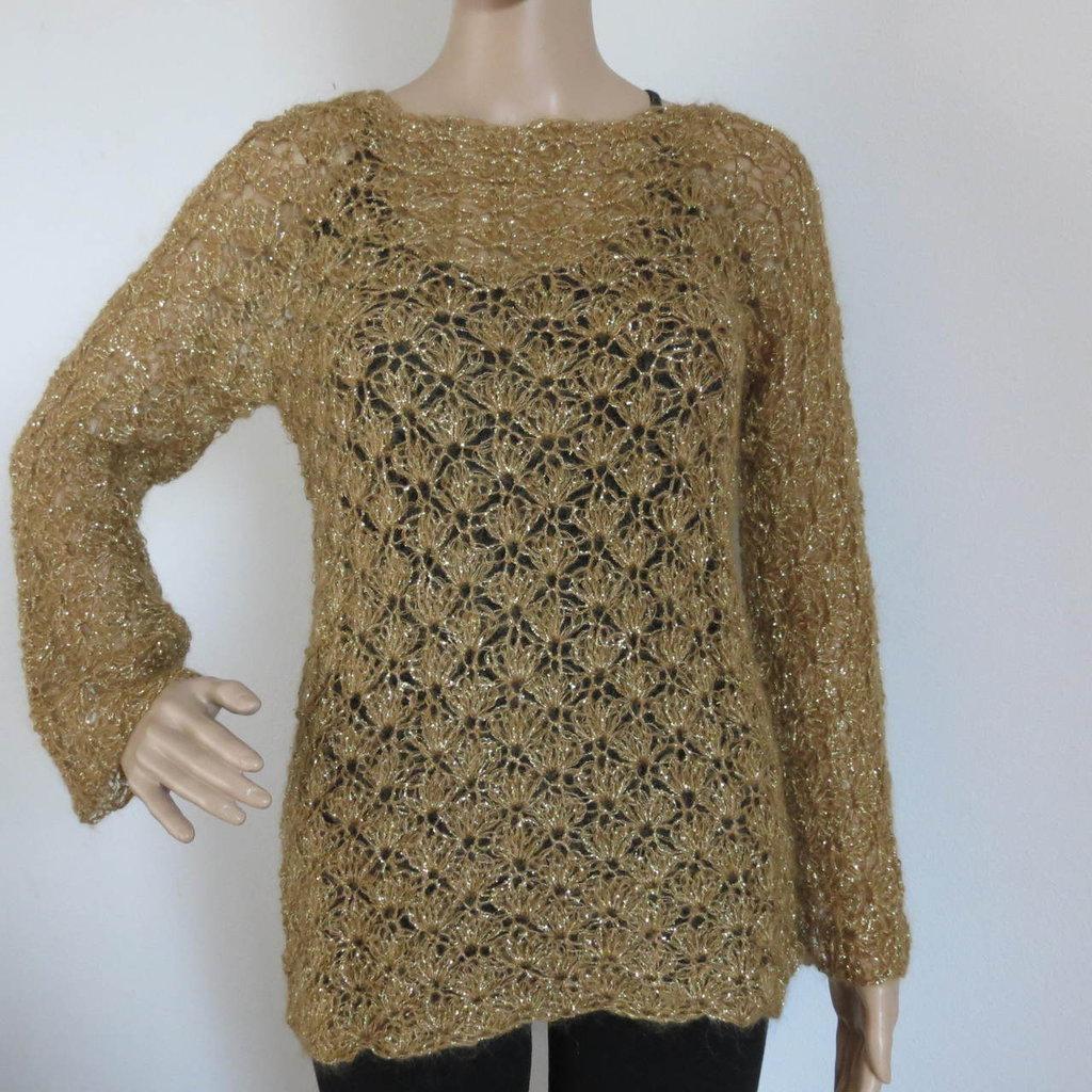 maglia mohair e lurex senape e oro