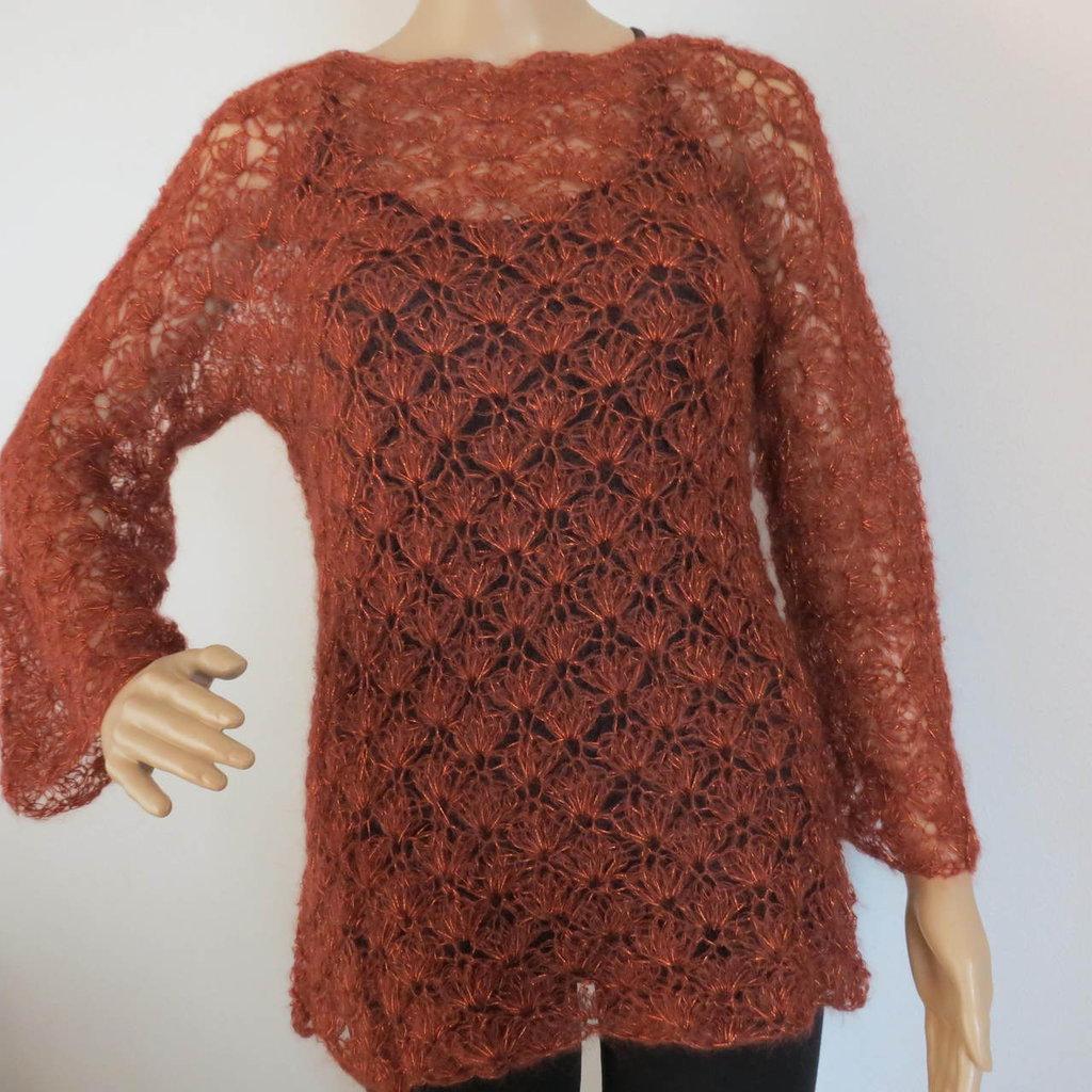 maglia  traforata mattone e rame
