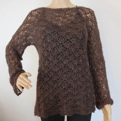 maglia traforata marrone e lurex