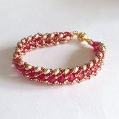 Bracciale rosso oro a spirale piatta