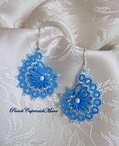 Orecchini azzurri al chiacchierino, perle in Argento 925
