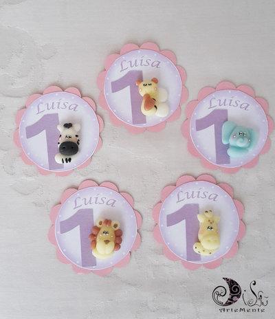Card Art etichette compleanno bimaba rosa e lilla con animaletti primo compleanno gadget personalizzabili
