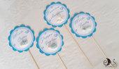 Bastoncini segnagusto per confettata per battesimo compleanno bimbo tondi smerlarti con animaletti personalizzabile allestimento sweet table
