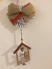 Fuori porta natalizio volpe in legno