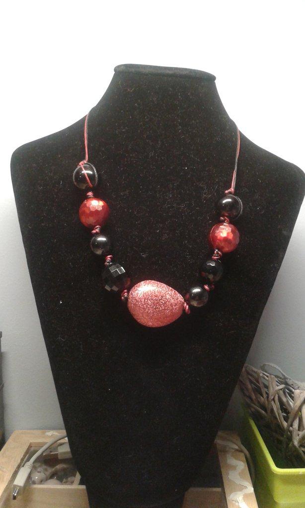collana perle rosse e nere
