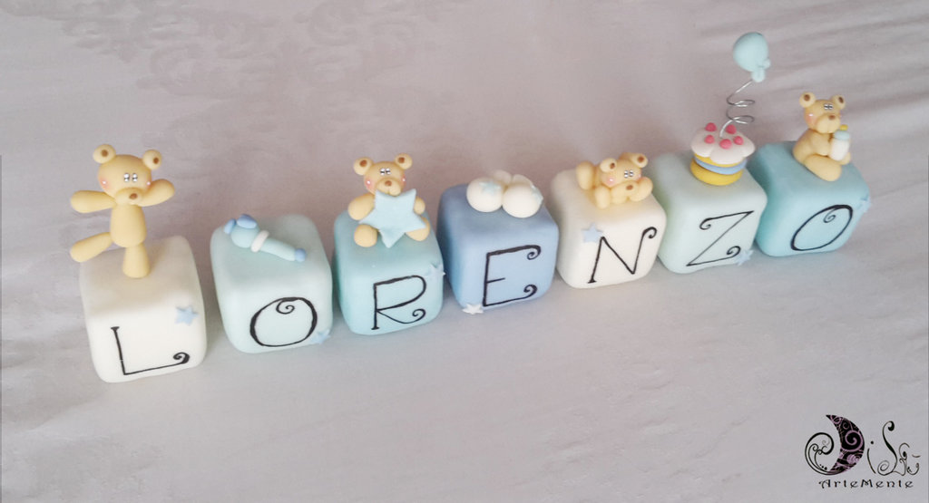 cake topper cubi Lorenzo con orsetti e soggetti nascita personalizzabile - 7 cubi 7 lettere -
