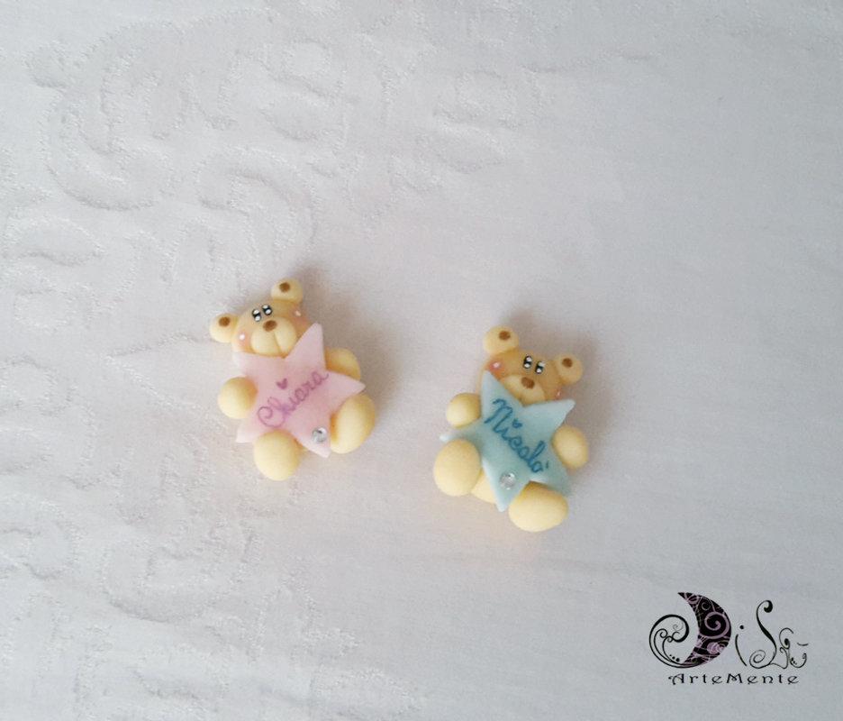 Bomboniere battesimo calamite orsetti con stella personalizzata con nome per bimbo e bimba