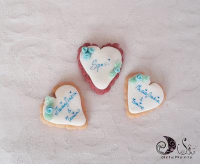 Bomboniera matrimonio segnaposto cuore biscotto applicazione calamita personalizzabile