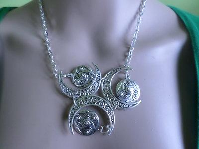 collana falce di luna tono argento