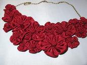 Collana kanzashi colore bordeaux con catena di bronzo