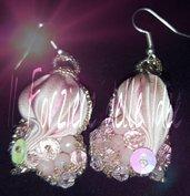 Cuori rosa in seta shibori