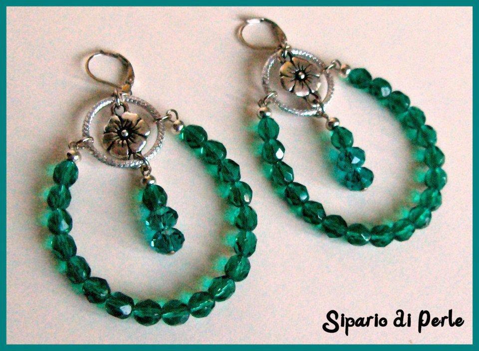 Orecchini a cerchio emerald - mezzicristalli